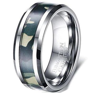 CERTIFIED 8mm Silver Tungsten Carbide Ring Green Camouflage Hunting Camo Sport Fashion Wedding Engagement Band
