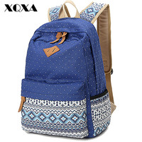 Ethnic Women Backpack for School Teenagers Girls Vintage Stylish Ladies Bag Backpack Female Purple Dotted Printing High Quality