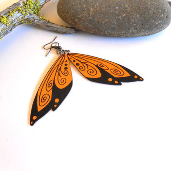 Wing earrings painted wood pumpkin orange black wood jewelry