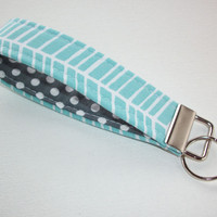 Key FOB / KeyChain / Wristlet key strap - blue aqua herringbone with white polka dots on gray - gift for her under 10