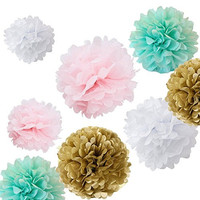 Fonder Molls 12pcs Mixed Sizes 8'' 10'' 14'' White Pink Mint Kahki Tissue Paper Pom Poms Set Wedding Party Decor, Pom Pom Flowers, Tissue Paper, Tissue Paper Flowers Kit, Pom Poms Craft, Wedding Pom Poms, Pom Poms Decoration