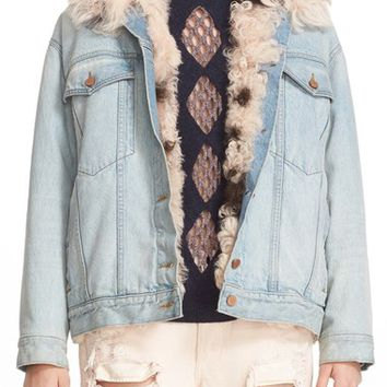 Alexander Wang Genuine Shearling Trim Denim Jacket | Nordstrom