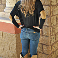 PATCH IT UP LONG SLEEVE BLACK TOP