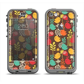 The Orange & Red Cute Vector Birds Apple iPhone 5c LifeProof Nuud Case Skin Set
