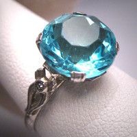 Antique Aquamarine French Paste Ring Vintage Art Deco Wedding