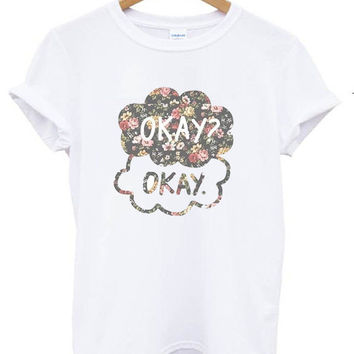 TFIOS OKAY OKAY T shirt Tshirt Tee Tumblr blanc unisexe fashion women pink white tee shirt tumblr graphic size S M L - 5sos one direction