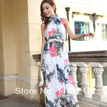 Digital printing Floral Chiffon Maxi dress Gown, Summer Sundress for garden holiday parties weddings