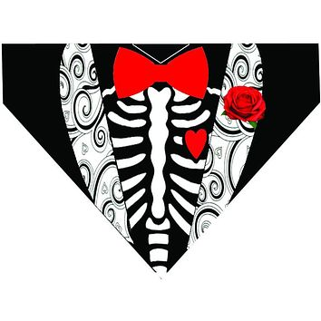 Tuxedo Halloween Over the Collar Dog Bandana - Skeleton