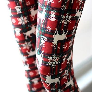 Red Plaid Reindeer And Snowflakes Print High Waisted Cute Christmas Leggings