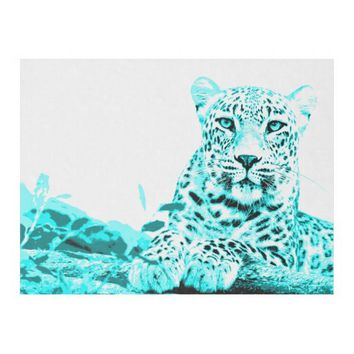 Georgeous Turquoise Leopard on White Background Fleece Blanket