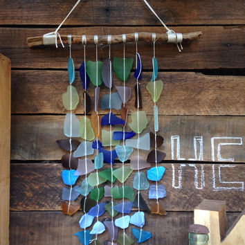 MADE TO ORDER 7 Strand Handmade Sea Glass Wind Chime Mobile