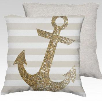 Glitter Anchor In Gold   Thow Pillow // #glitter #anchor #gold #stripes #nautical #throw #pillow #anchor #marine #home #decor