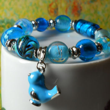 Beaded Stretch Bracelet, Bluebird charm bracelet, lampwork glass beads Silver gift for her made in USA, Love, Heart, Beach, Sanibel Island