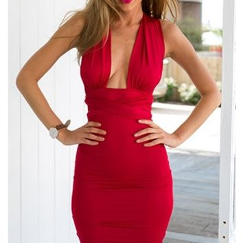 Deep In Love Red Sleeveless Plunge V Neck X Back Halter Tie Waist Bodycon Midi Dress