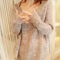 Hollow--out long sleeve  loose knitting  sweater--SW059