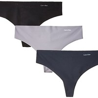 Calvin Klein Women's Invisibles 3 Pack Thong Panty