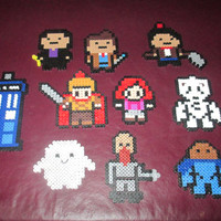 Now Including Amy Pond and Centurion Rory--Premium Doctor Who Perler Art  Magnets, Hanging Ornaments, or Wall Décor