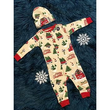 Christmas Infant Coverall With Cap Pajamas Holiday Country Christmas