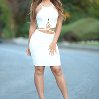 Cross the Line Dress - Ivory