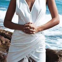 White V-Neck Fringed Dress