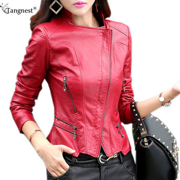 TANGNEST Women Leather Jacket 2016 New Plus Size M-5XL Women Motor Jackets Solid Slim PU Leather Motorcycle Jackets Coats WWJ563