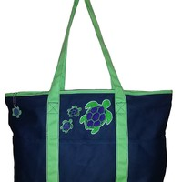 Large Embroidered Ocean Themed Zipper Top Beach Bag Tote