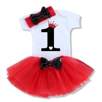 2017 Baby Girl Clothes Toddler Clothing For First Birthday Newborn Baby Short Sleeve Infant Girl Par
