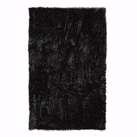 Home Decorators Collection Faux Sheepskin Black 4 ft. x 6 ft. Area Rug-5248220210 - The Home Depot
