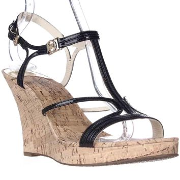 MICHAEL Michael Kors Cicely Wedge Strappy Cork Sandals, Black, 10 US