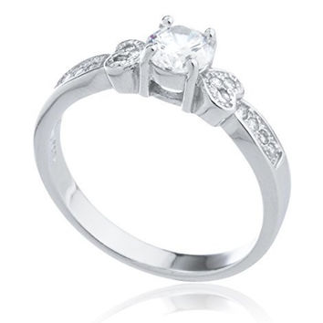 Silver Double Heart and Cubic Zirconia Promise Ring (9)
