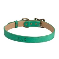 Personalized Dog Collar Italian Leather | Green
