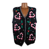 Ugly Christmas Sweater Vintage Party Cardigan Vest  Tacky Holiday Candy Canes size 1 X