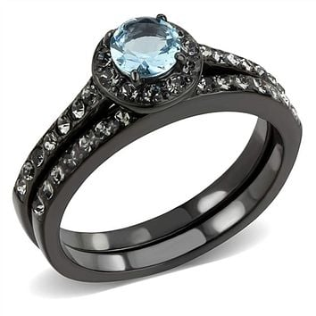 WildKlass Stainless Steel Ring IP Black(Ion Plating) Women Synthetic Sea Blue