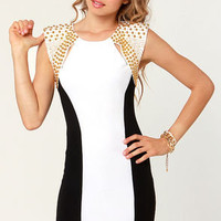 Stud'n Impact Studded Black and White Dress