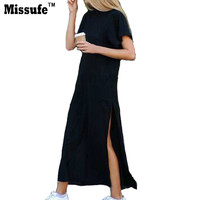 Girl's Black Long Tshirt 2017 Summer Street Fashion Casual Clothing Short Sleeve Vestidos Robe Party Sexy Slit Women's Dresses
