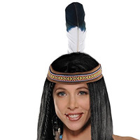 """Amscan High Riding Western Party Native American Headband (1 Piece), Brown, 14.5 x 5"""""""