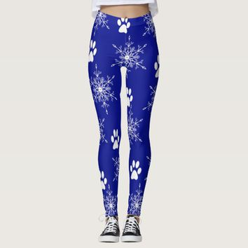 Snowflakes and Paw Prints Leggings