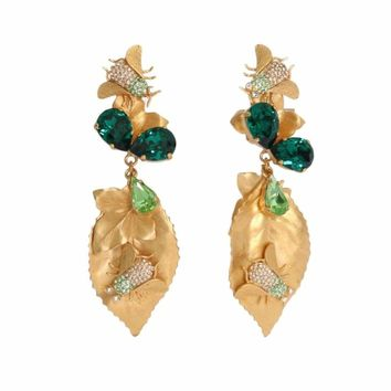Dolce & Gabbana Gold Brass Insect Crystal Clip On Earrings