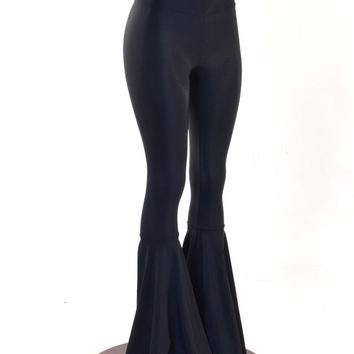 Black Lycra Spandex High Waist Bell Bottom Flare Pants