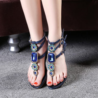 Summer Rhinestone Gemstone Luxury Leather Sandals [4905657860]