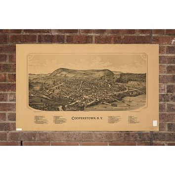 Vintage Cooperstown Print, Aerial Cooperstown Photo, Vintage Cooperstown NY Pic, Old Cooperstown Photo, Cooperstown New York Poster, 1890