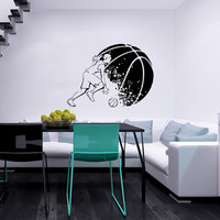 Female Girl Basketball Player with Ball Sport Wall Vinyl Decal Sticker Housewares Design Murals Interior Decor Home Bedroom SV5229