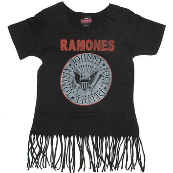 Ramones  Seal Girls Jr Fringe Top Black Rockabilia