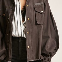 Frayed Button-Front Jacket
