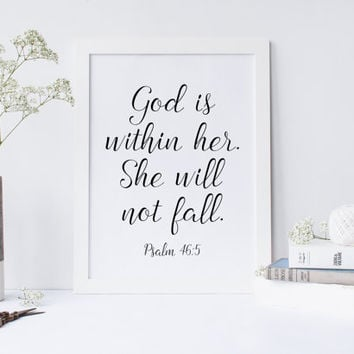 Printable art,God is within her she will not fall Nursery verse decor scripture art printable Psalm 46:5 Printable wall decor Bible verses