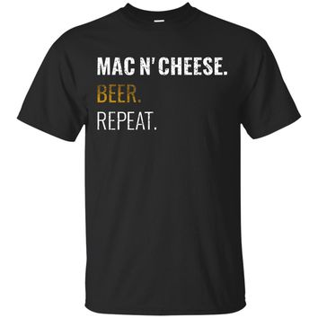 Mac and Cheese Beer Repeat Shirt, Distressed Novelty Tee