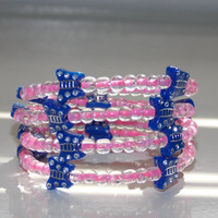 Girls Pink and Blue Butterfly Wrap Braclet