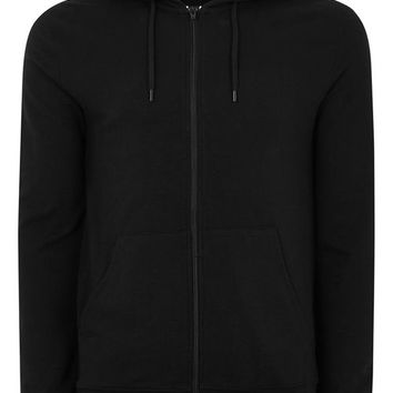 Black Zip Through Muscle Hoodie - New Arrivals - New In