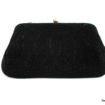 Vintage Goldco black glass beaded clutch purse evening bag beaded handbag wristlet