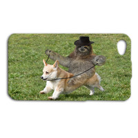 Super Funny iPhone Case Cute Sloth Riding a Corgi Dog iPod Case iPhone 4 iPhone 5 iPhone 5s iPhone 4s iPhone 5c Case iPod 4 Case iPod 5 Case